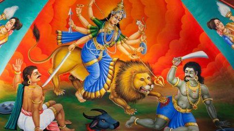 Painting of Hindu deity of Goddess Durga Mahishasur Mardini, Sri Mariamman Temple, Singapore